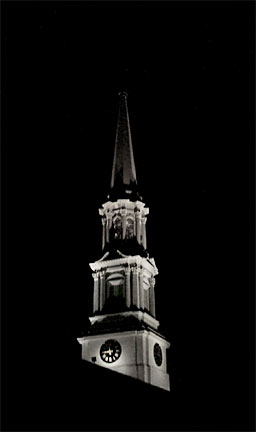 Clock Steeple on Christmas Eve